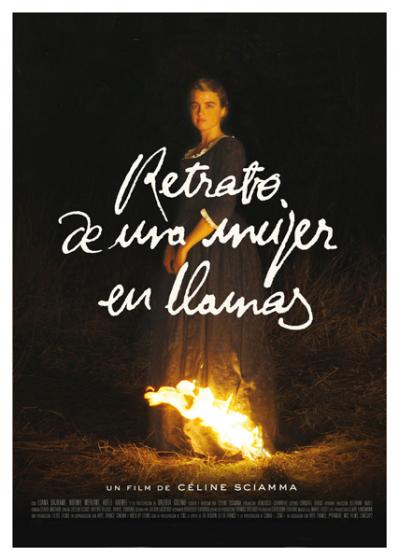 retrato de una mujer en llamas póster